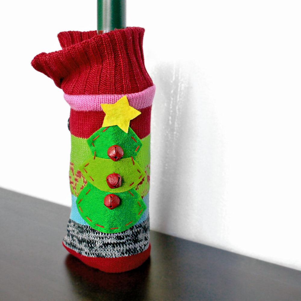 jingle bell knit ugly christmas sweater wine bottle cozy