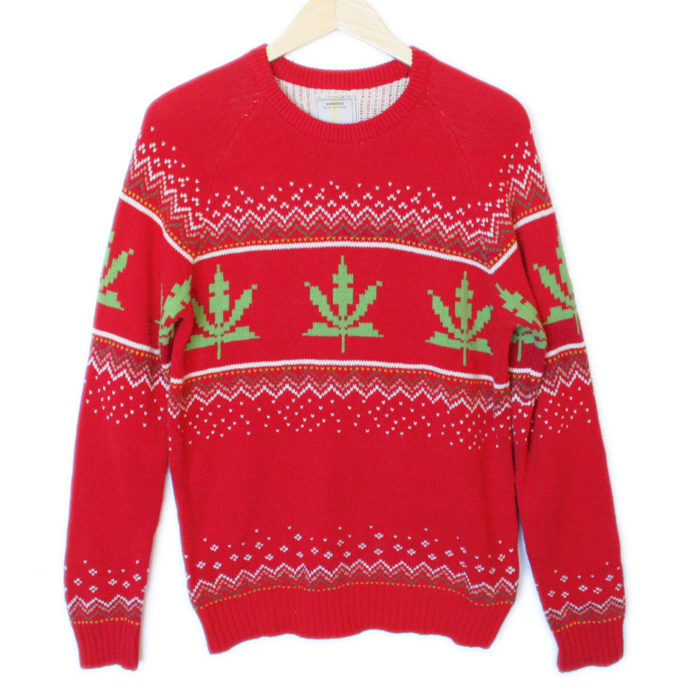 Urban Outfitters 8,Bit Weed Sweater Tacky Ugly Christmas Sweater