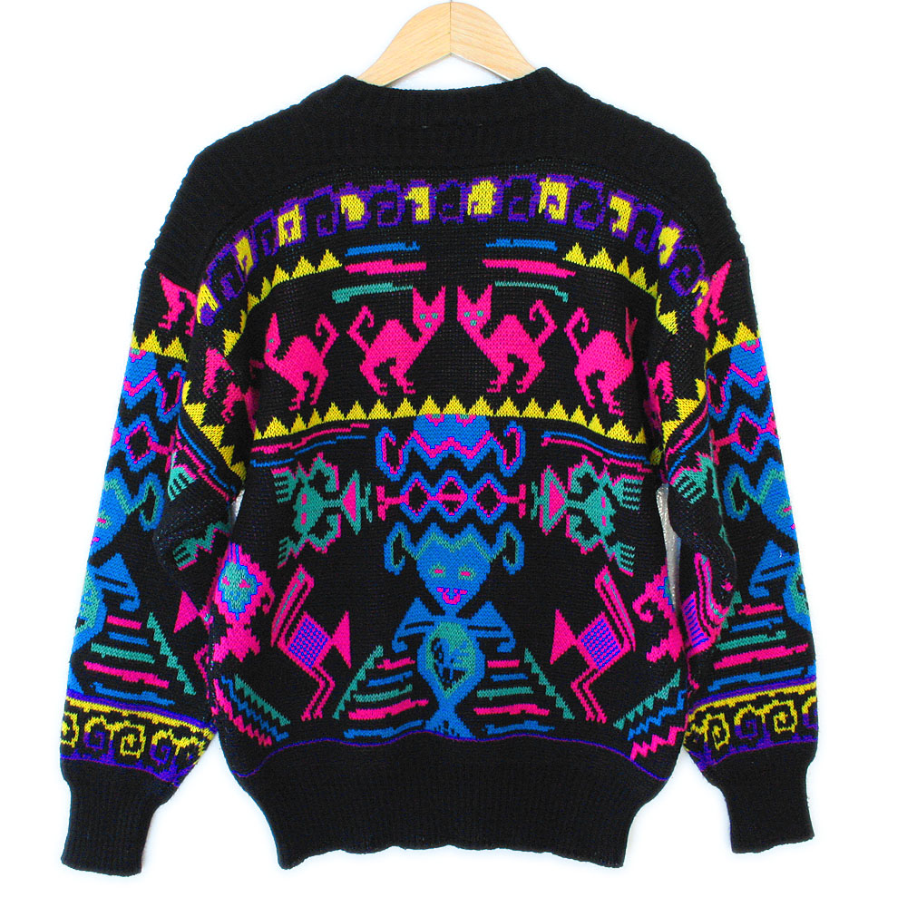 Vintage 80s Cats and Aliens Tacky Ugly Ski Sweater - The ...