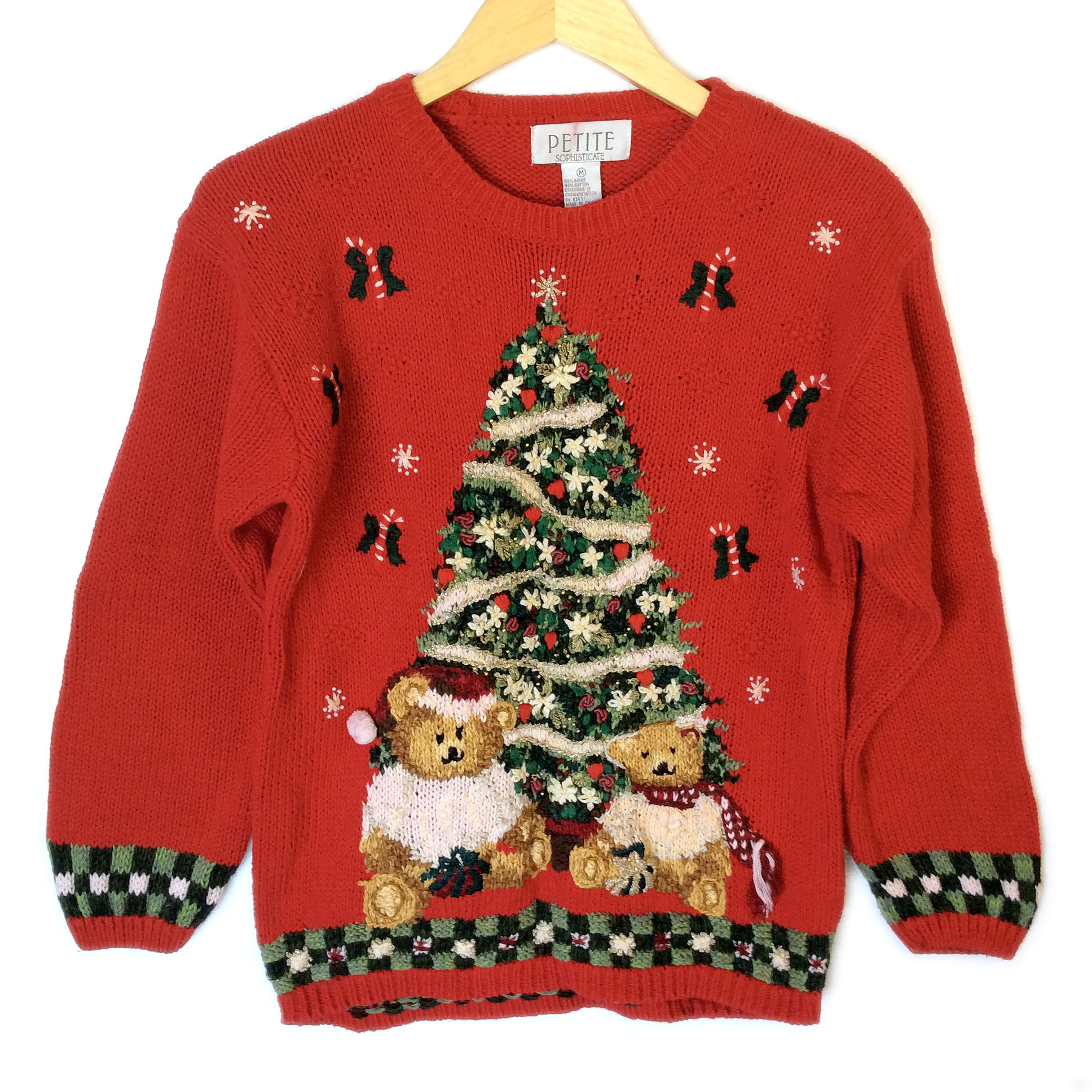 Vintage 90s Christmas Trees and Teddy Bears Ugly Christmas Sweater ...