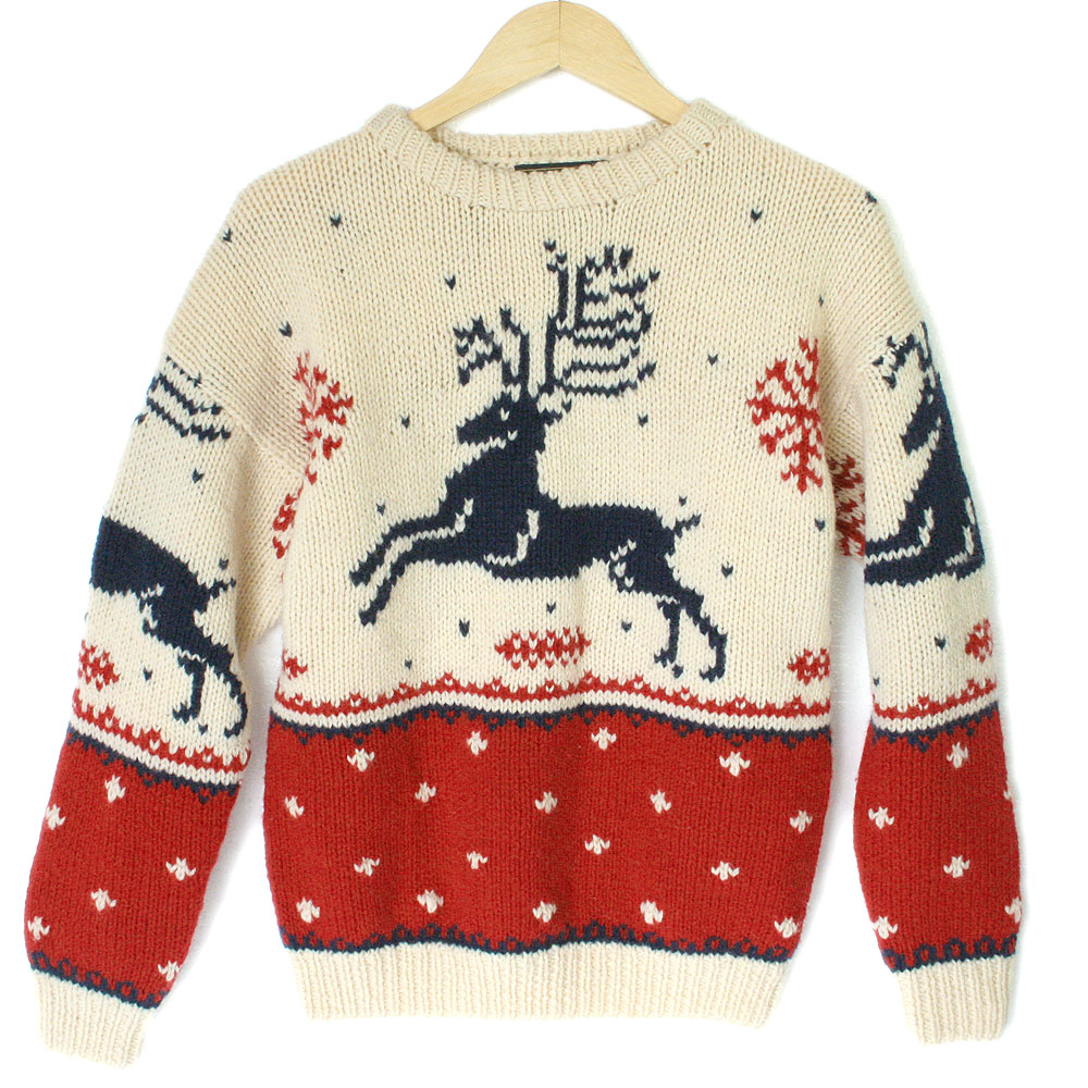Vintage 90s Eddie Bauer Reindeer Ugly Christmas Sweater - The Ugly ...