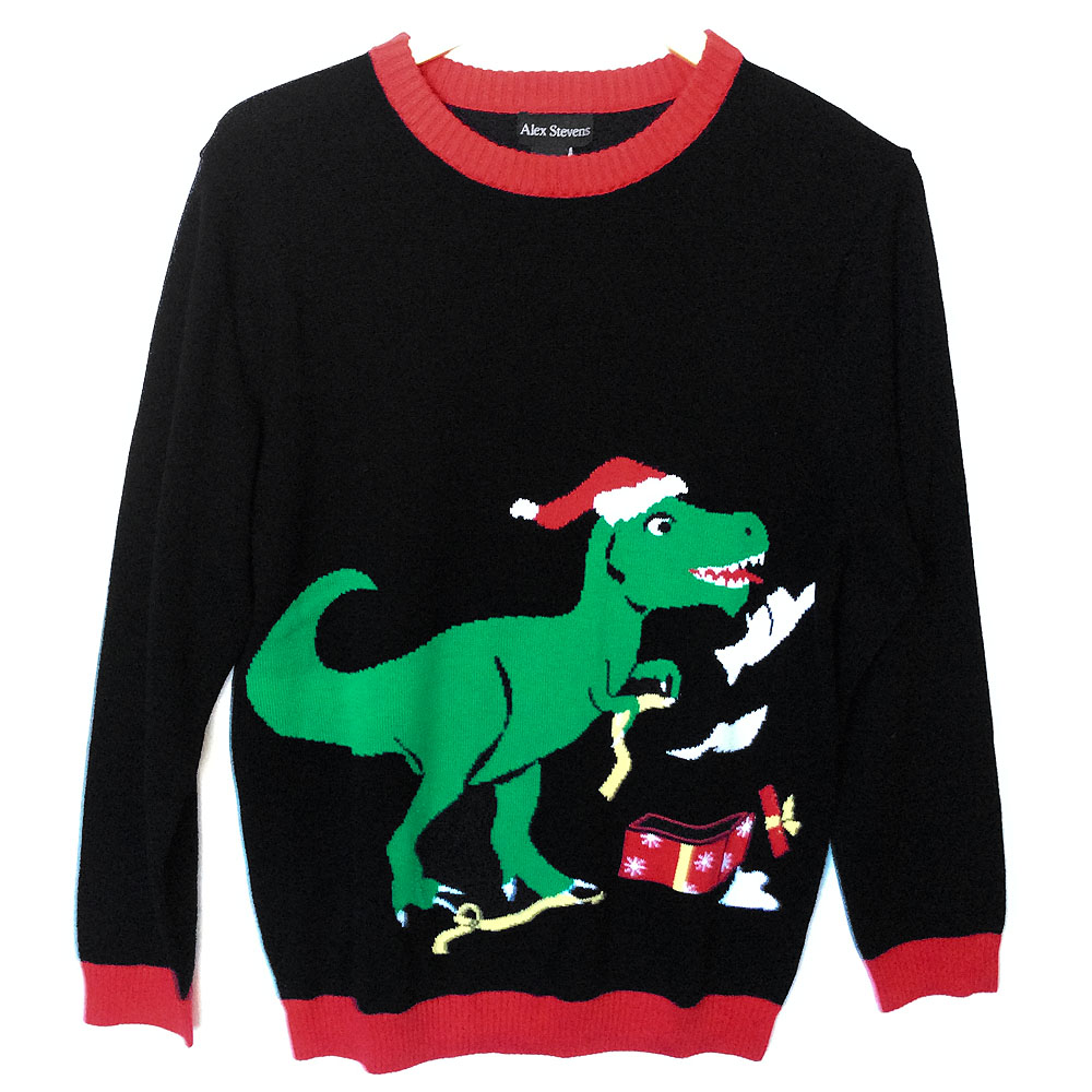 Alex Stevens T Rex Dinosaur Tacky Ugly Christmas Sweater - The ...