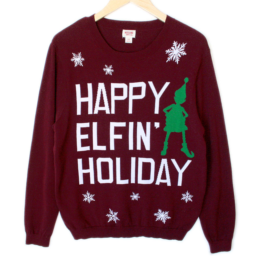 Happy Elfin' Holiday Tacky Ugly Christmas Sweater - The Ugly ...
