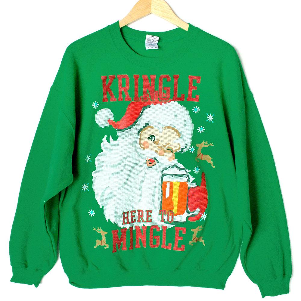 Kringle here to mingle tacky ugly christmas sweater style for Fishing ugly christmas sweater