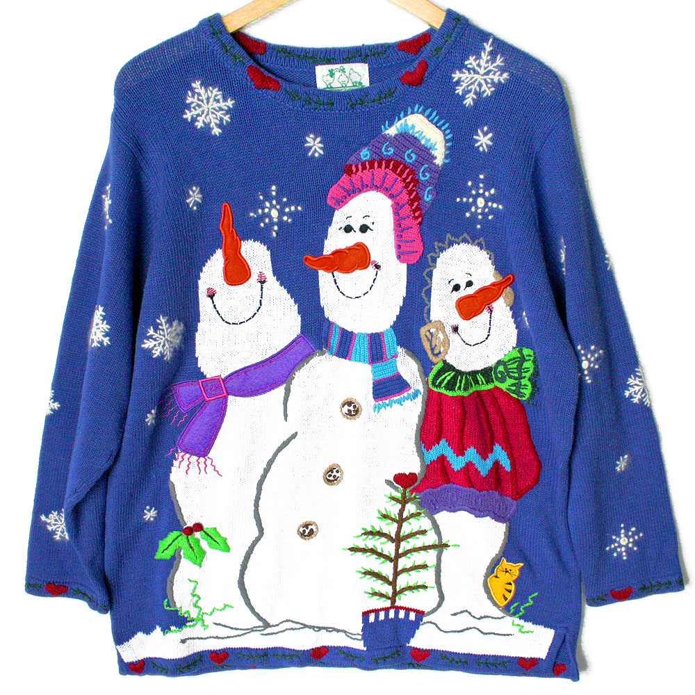 Quacker Factory Smug Snowmen Tacky Ugly Christmas Sweater - The ...
