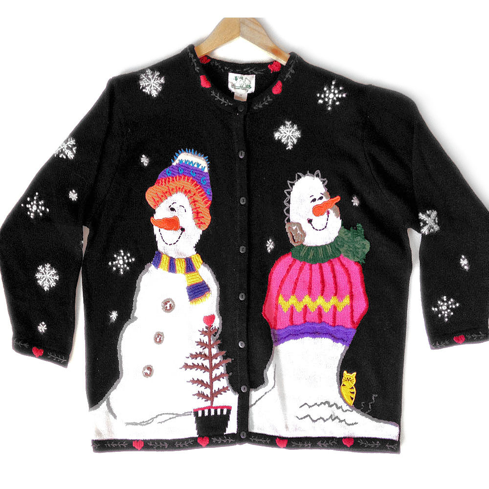 Smirking Snowmen, Hidden Kitten Tacky Ugly Christmas Sweater - The ...
