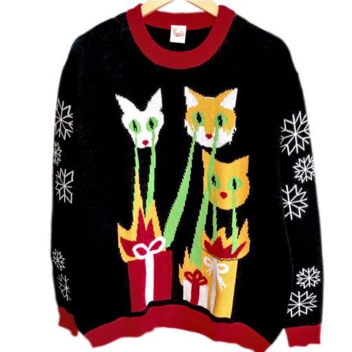 Ugly Christmas Sweater Cat.Laser Cats Tacky Ugly Christmas Sweater The Ugly Sweater Shop