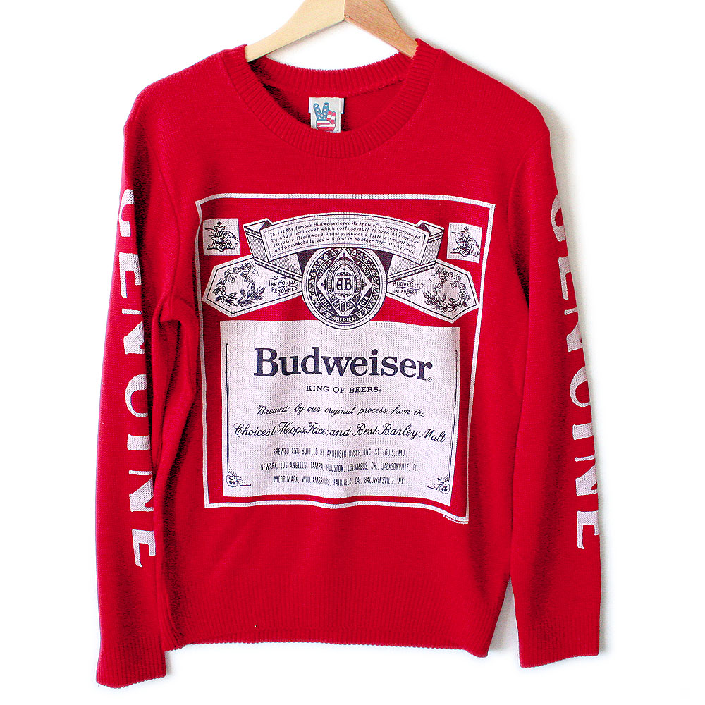 Urban Outfitters Budweiser Beer Tacky Ugly Sweater - The Ugly ...