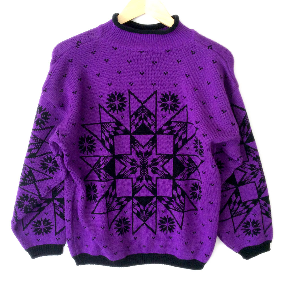 Vintage 80s Aztec Tribal Purple Snowflake Tacky Ugly Ski Sweater ...
