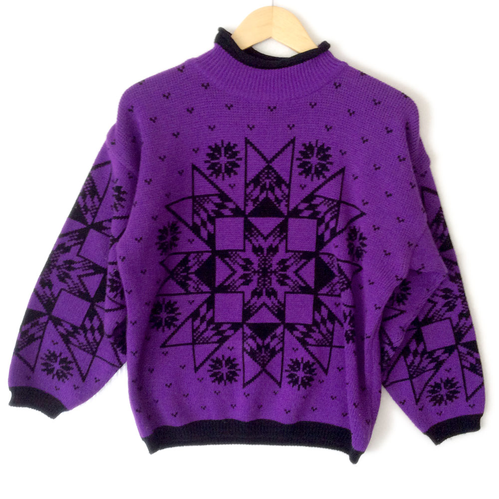 Vintage 80s Aztec Tribal Purple Snowflake Tacky Ugly Ski ...