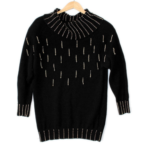 Vintage 90s Dangling Beads Longer Length Ugly Gem Sweater