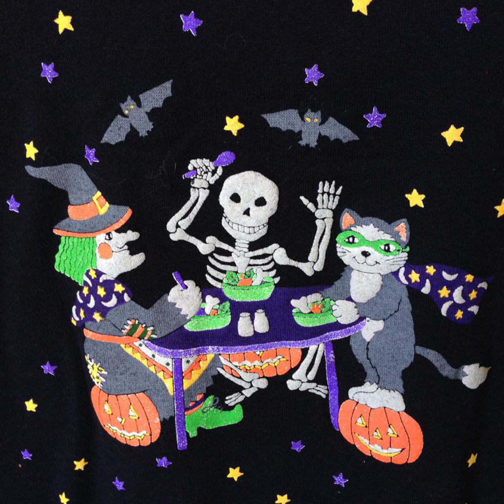 Witch Kitty and Skeleton Dinner Party Vintage 80s Tacky ...