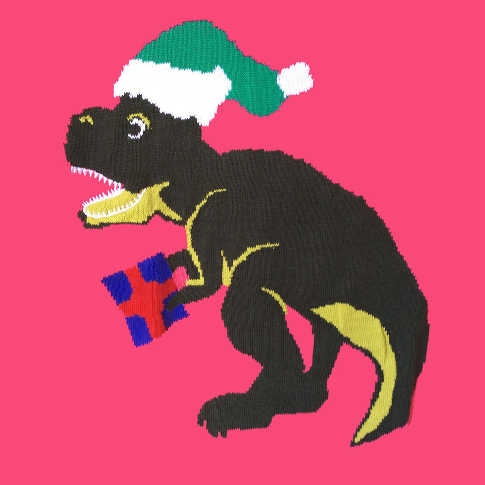 Alex Stevens Dinosaur Christmas T Rex Ugly Holiday Sweater - Pink ...