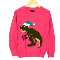 Alex Stevens Dinosaur Christmas T Rex Ugly Holiday Sweater - Pink