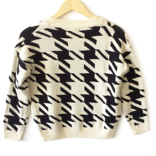 Big Houndstooth Cropped Lightweight Ugly Sweater