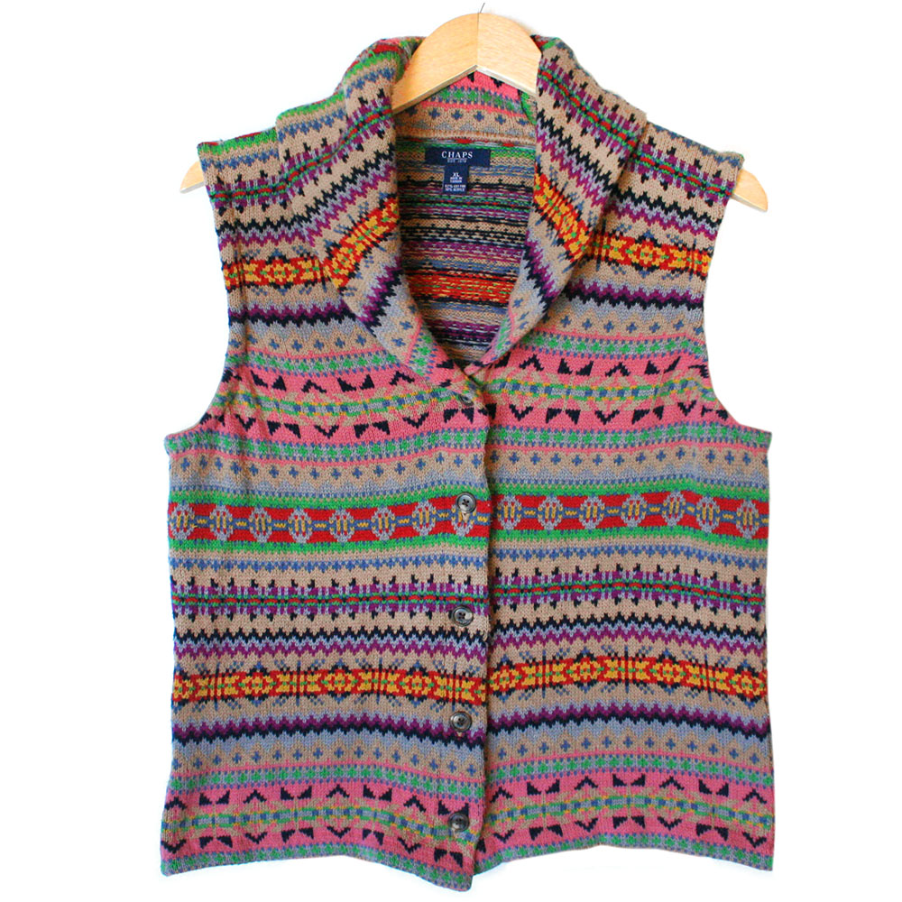 Chaps Pastel Fair Isle Ugly Ski Sweater Vest - The Ugly Sweater Shop