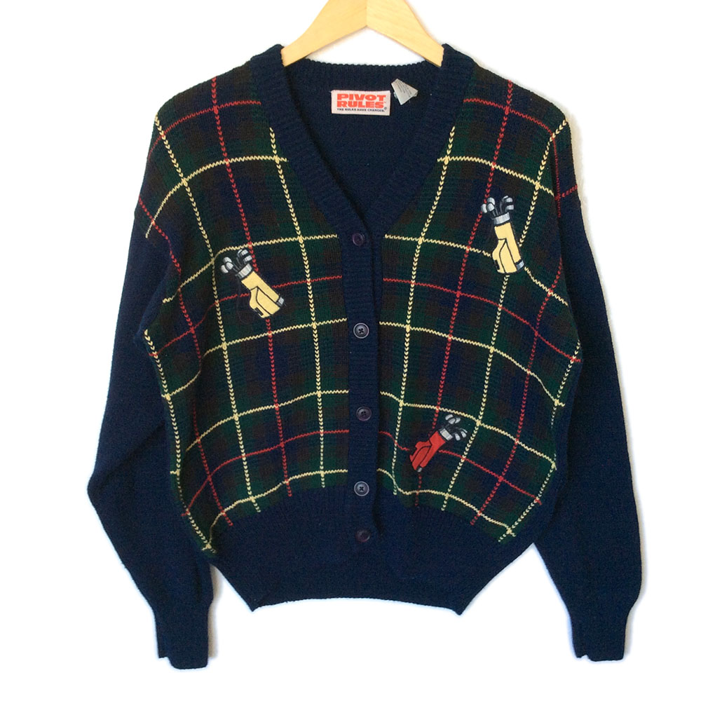 Golf Bags Plaid Men's Golf Cardigan Ugly Sweater - The Ugly ...