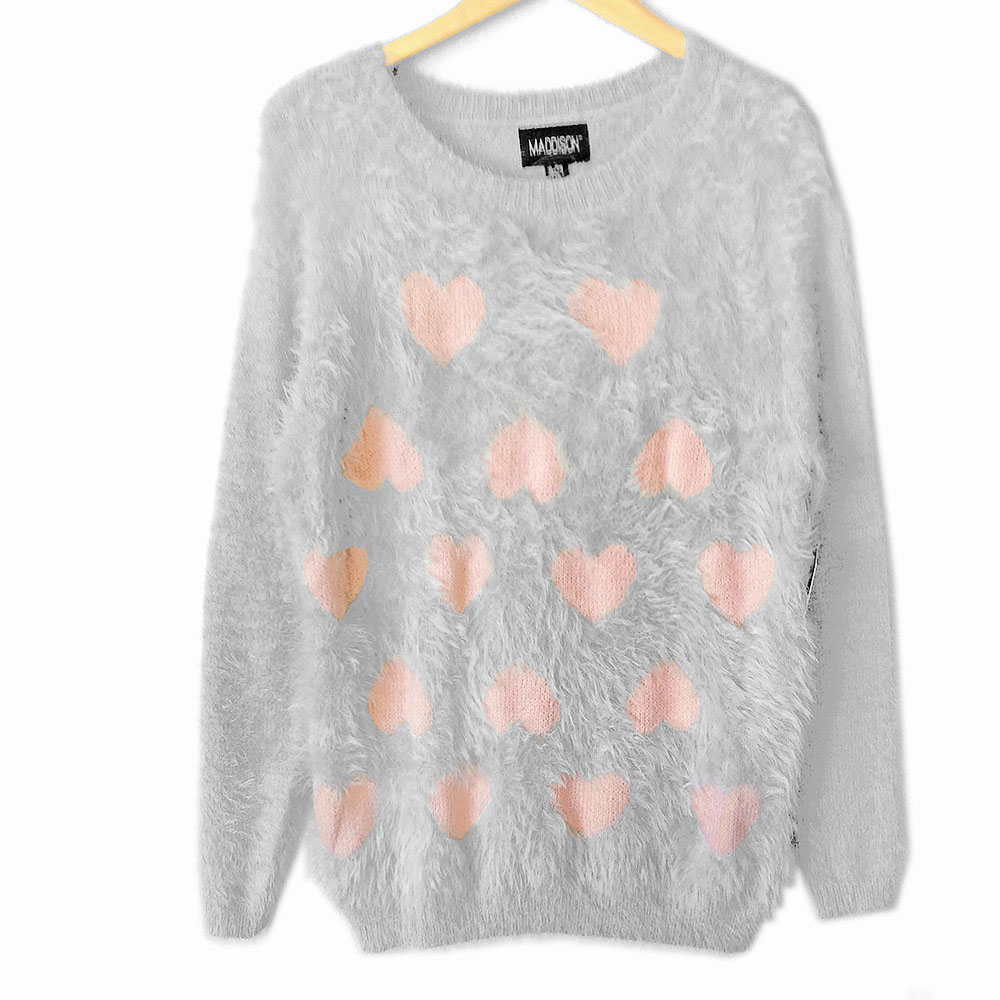 Gray Hairy Hearts Fuzzy Longer Length Ugly Valentines Day Sweater ...
