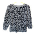Gray Sparkle Snow Leopard Print Hi-Lo Tacky Ugly Sweater 2