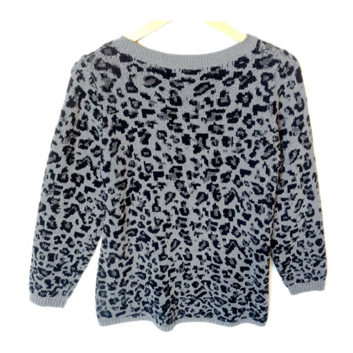 Gray Sparkle Snow Leopard Print Hi-Lo Tacky Ugly Sweater
