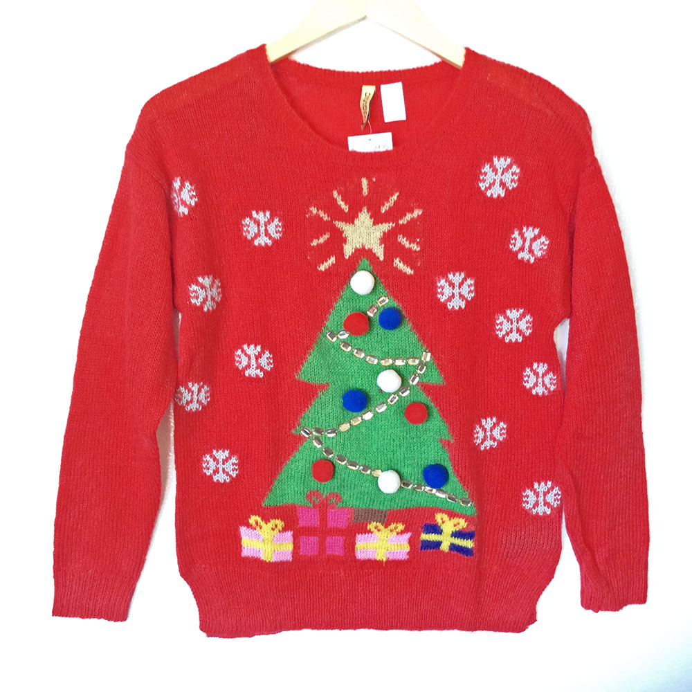 H&M Christmas Tree Red Tacky Ugly Sweater - The Ugly Sweater Shop