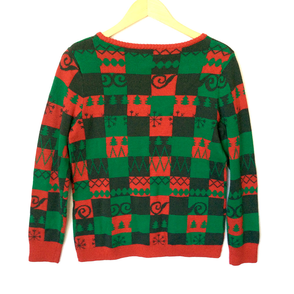 Red Green Checkerboard Christmas Stockings Ugly Sweater - The Ugly ...
