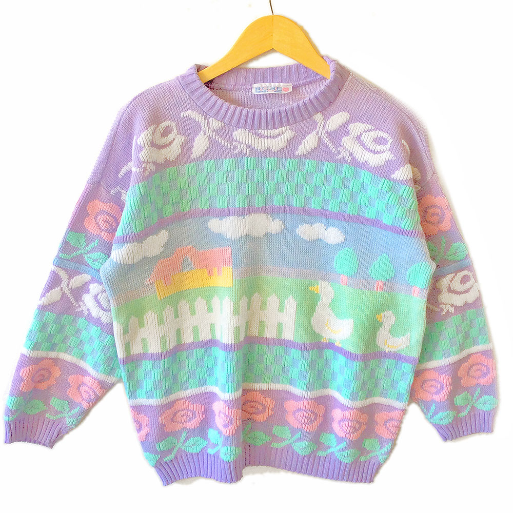 Vintage 80s Farm Scene Pastel Sparkle Tacky Ugly Sweater - The ...