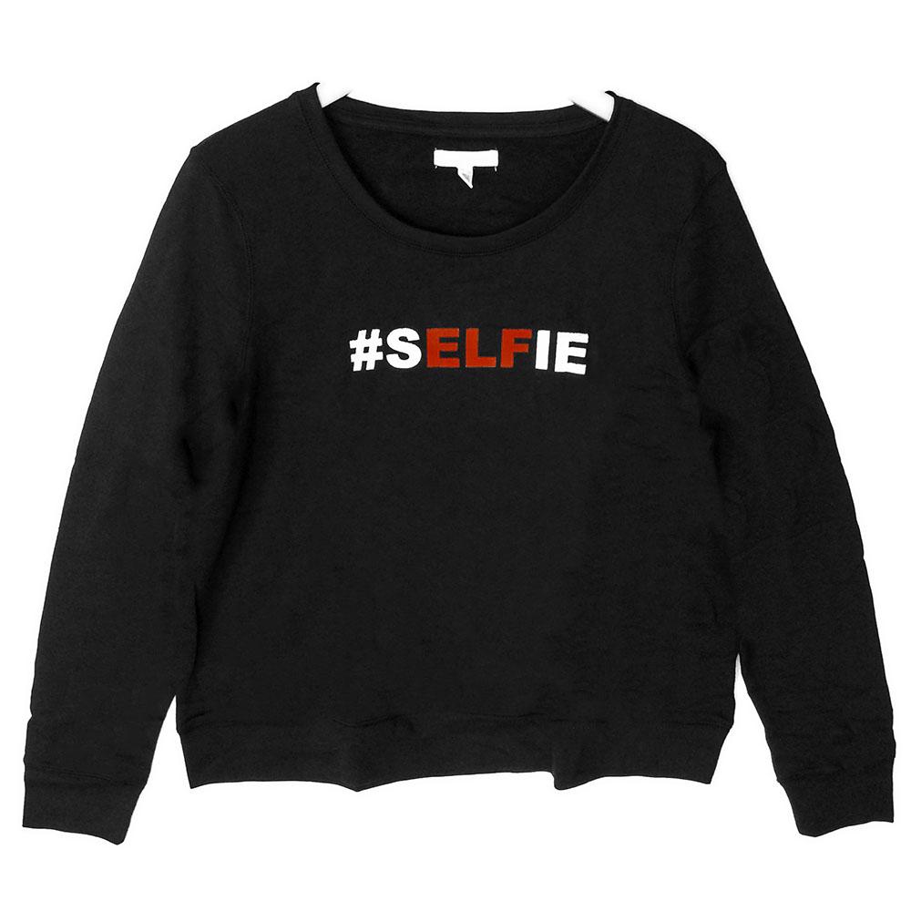 aeropostale selfie elf tacky ugly christmas sweatshirt black - Black Christmas Sweater
