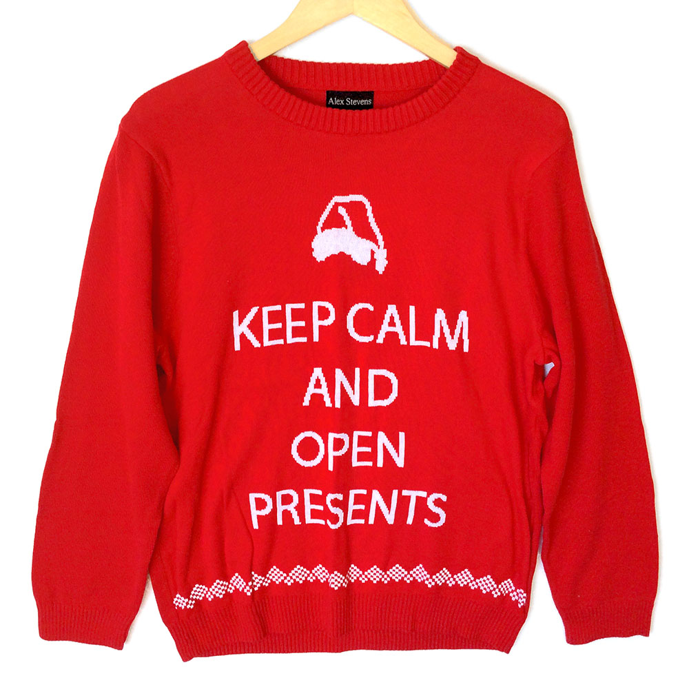Alex Stevens Keep Calm and Open Presents Ugly Christmas Sweater ...