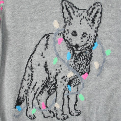 Husky Puppy Dog Tangled in Christmas Lights Ugly Sweater