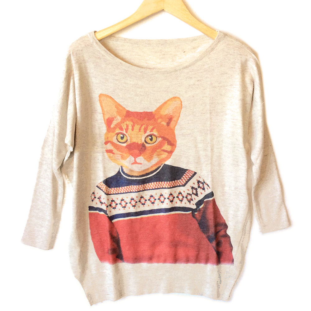 Kitty in an Ugly Christmas Sweater Ugly Sweater - The Ugly Sweater Shop