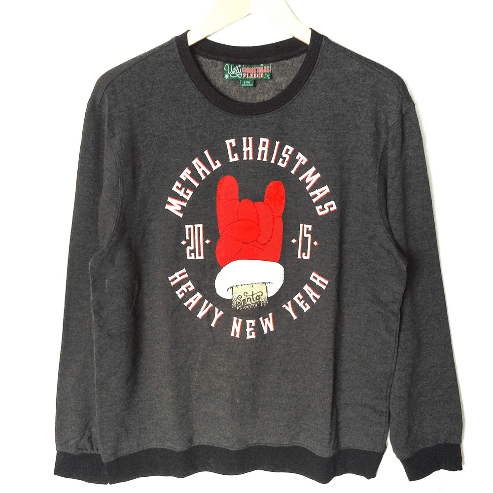 Metal Christmas + Heavy New Year Ugly Holiday Sweatshirt - The ...