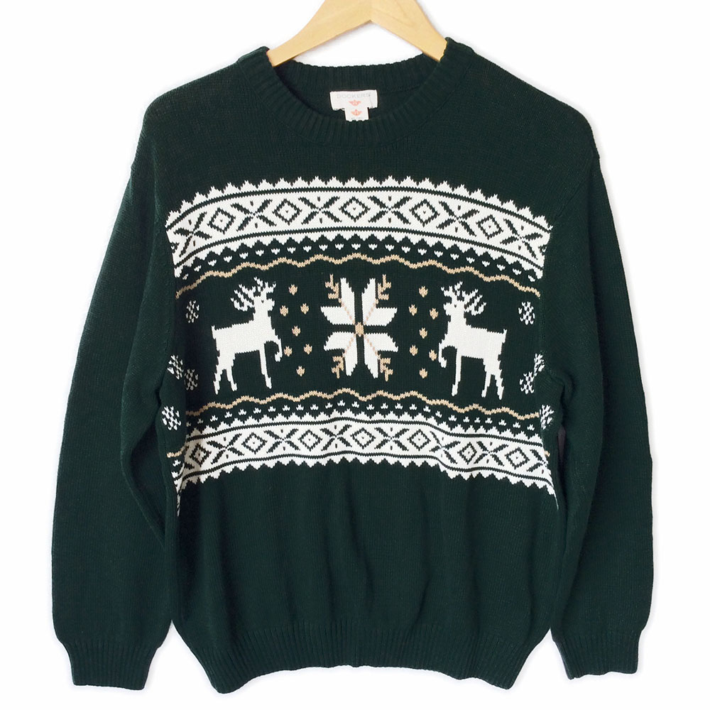 Nordic Reindeer Snowflake Ski Or Ugly Christmas Sweater