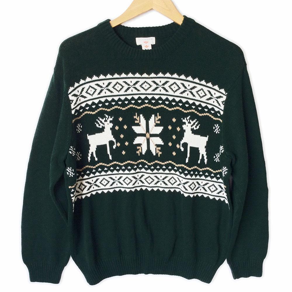 nordic reindeer snowflake ski or ugly christmas sweater - Reindeer Christmas Sweater