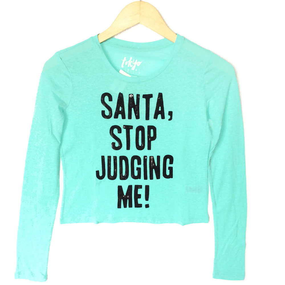 Santa Stop Judging Me Ugly Christmas Sequin Crop Top - Turquoise ...