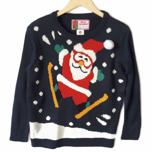 Ski Jumping Santa Tacky Ugly Christmas Sweater