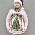 Vintage 90s Pink Big Christmas Tree Tacky Ugly Holiday Sweater