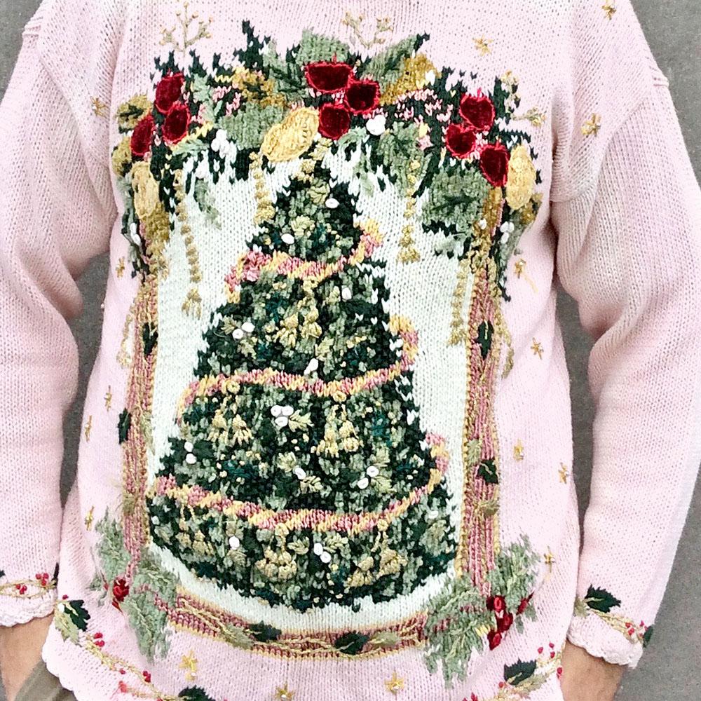 90s Christmas Tree.Vintage 90s Pink Big Christmas Tree Tacky Ugly Holiday