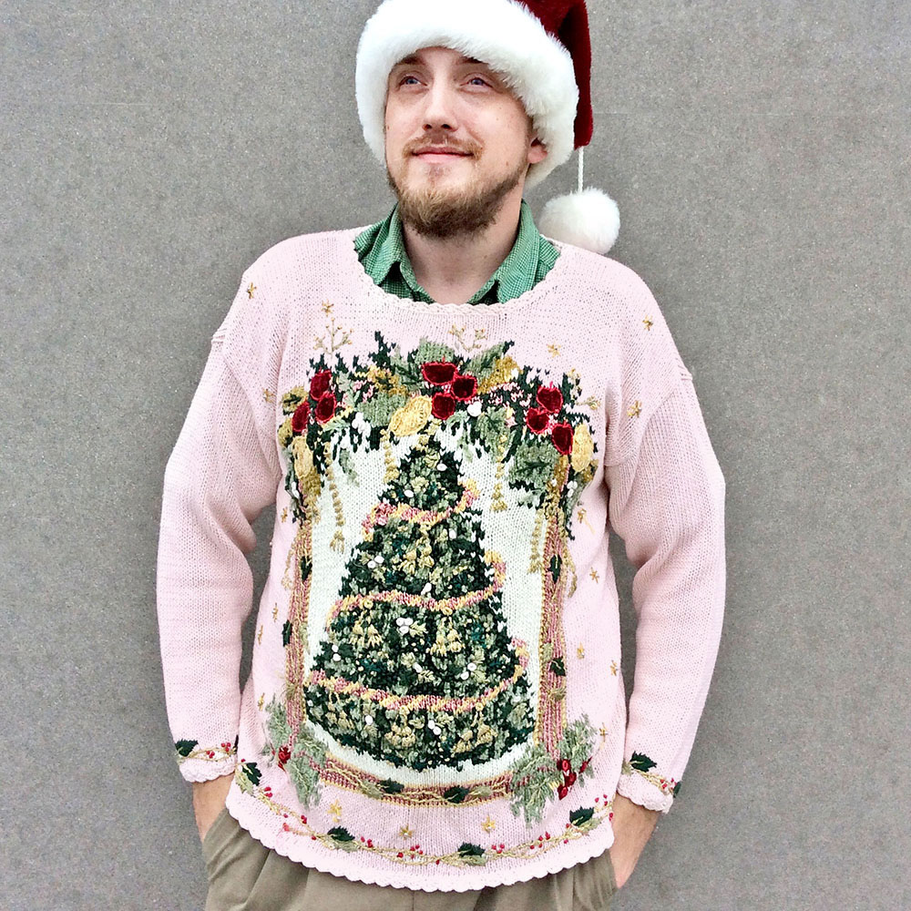 Vintage 90s Pink Big Christmas Tree Tacky Ugly Holiday Sweater ...