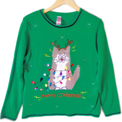 Electrocuted Kitty LED Light Up Cat Lady Ugly Christmas Sweater