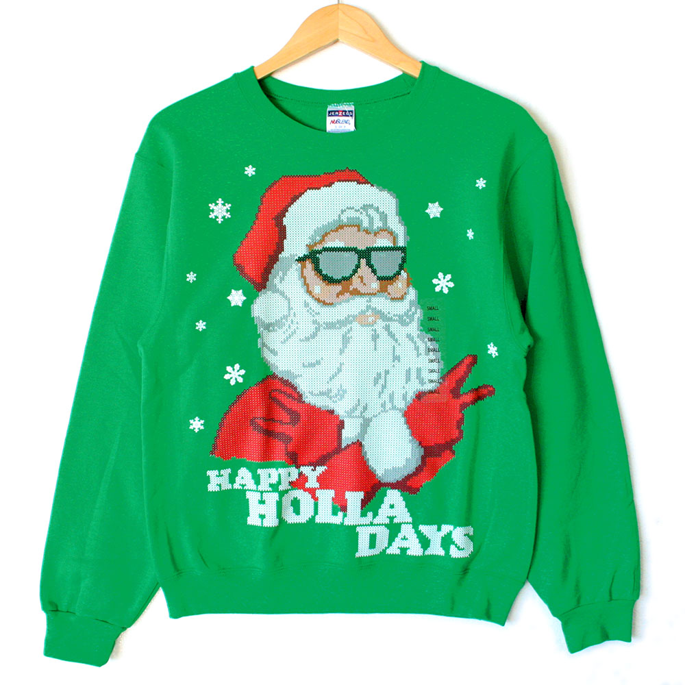 Happy Holla Days Cool Santa Ugly Christmas Sweater Style