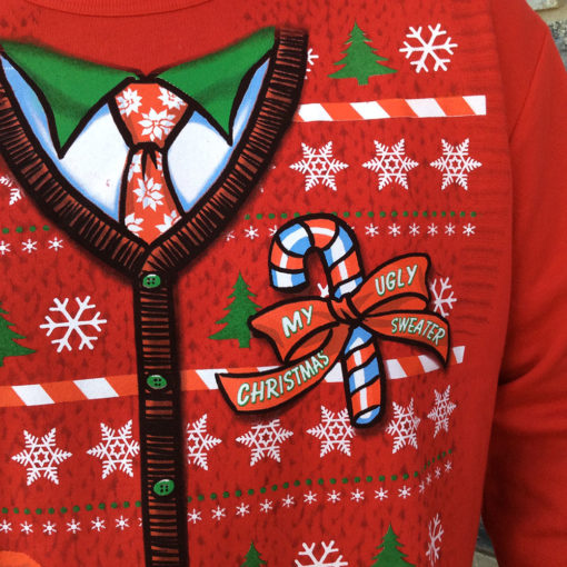 Kitty In My Pocket Crazy Cat Dude Faux Ugly Christmas Sweater Sweatshirt