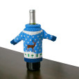 Knit Ugly Christmas Sweater For Your Bottle of Wine - Blue Reindeer