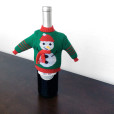 Knit Ugly Christmas Sweater For Your Bottle of Wine - Green Snowman