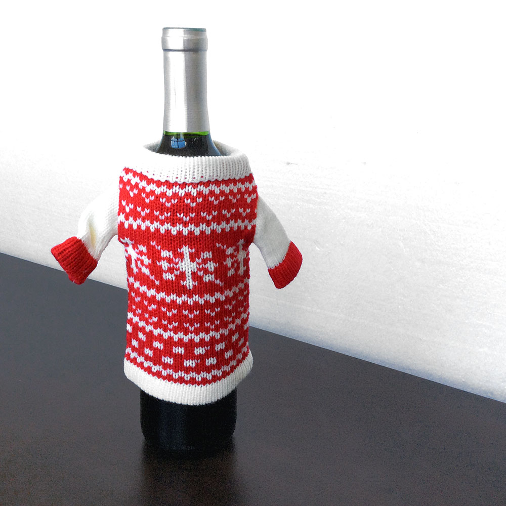 Knit ugly christmas sweater for your bottle of wine hat for Wine bottle christmas tree frame for sale
