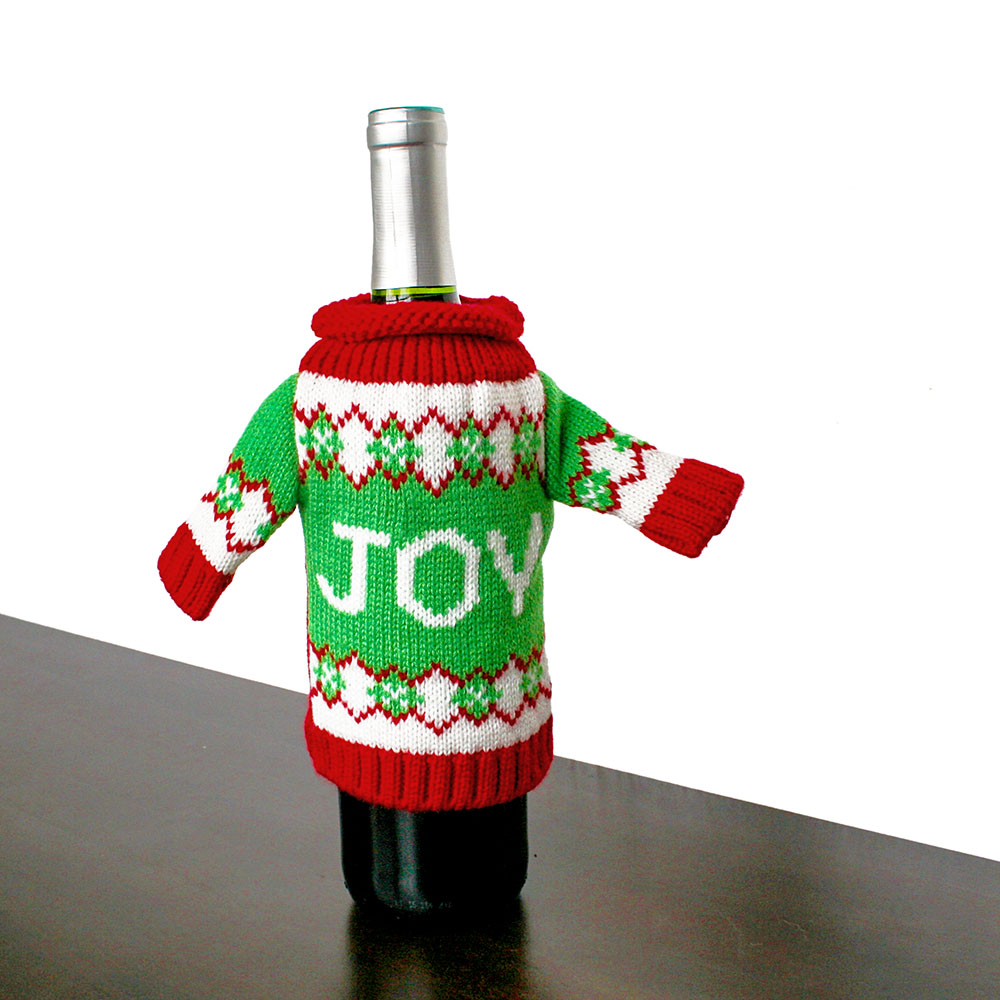 knit ugly christmas sweater for your bottle of wine joy
