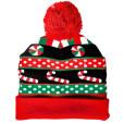 Light Up Christmas Candy Pom Pom Hat Stocking Cap