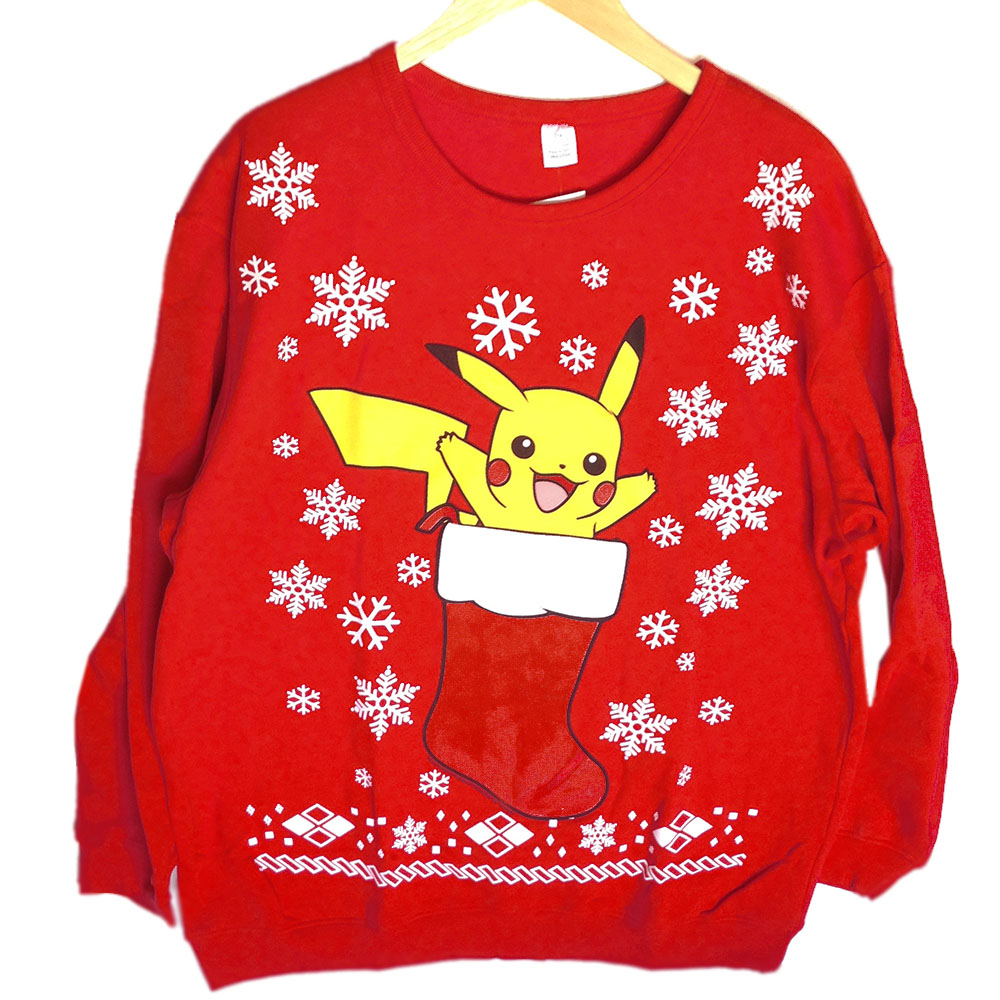 Pokeman Pikachu In A Christmas Stocking Ugly Holiday Sweatshirt