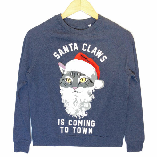 Santa Claws Kitty Cat Ugly Christmas Sweatshirt