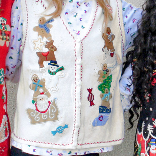Stacks of Gingerbread Men Tacky Ugly Christmas Sweater Vest
